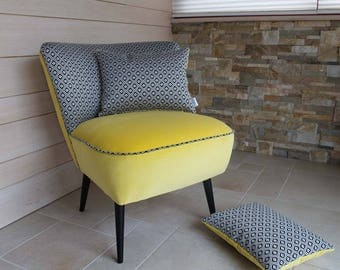 Yellow and black vintage cocktail Chair