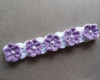 baby flower headband, Crochet Newborn Crown