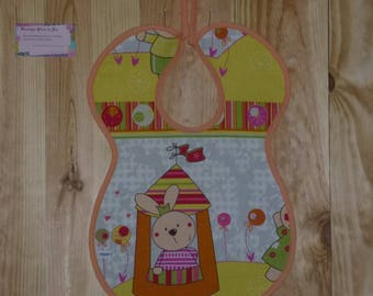 """Large bib """"My rabbit tent"""", lined and reversible"""