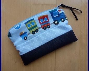 """Wallet """"Mon Petit Train"""" faux leather/dark blue cotton"""
