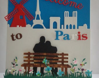"""Kit card """"Welcome to Paris"""" double height 18 cm lageur 14.5 cm (folded card) to make you even"""