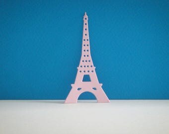Cut pink Eiffel Tower light for scrapbooking and card