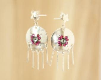 Sequin rhinestone and Sterling Silver earrings