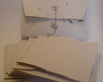Set of 5 double postcards and handmade paper envelopes