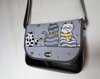 "Black PU leather and grey fabric Messenger bag ""cats"" on the flap."