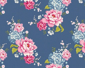 Fabric coupon 50/35 cm, TILDA, blue starflowers. patchwork, 480268C