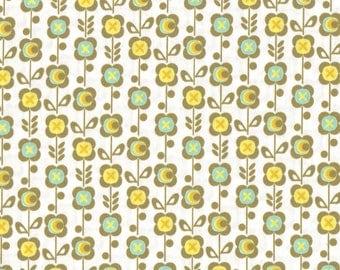 Laminated cotton fabric, flowers, Scandinavian