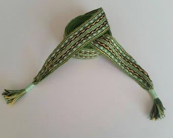 hand woven belt, in fine linen, along 73 inch about 1,26 inch wide