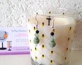 Réservé Sandrine - Boucles d'oreilles Bohème, pendentif pierre de lave, perles agate et jade, chips fluorite