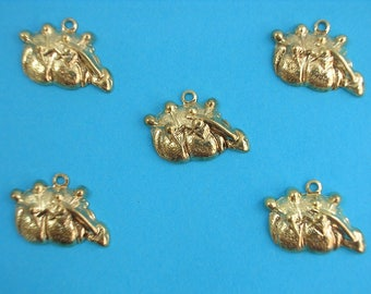 LOT 5 METALS CHARMS Gold: Spike needle 18mm