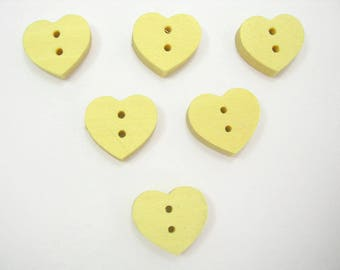 SET of 6 wood buttons: heart 12mm