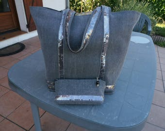 Of course glitter heavy canvas tote bag Grey Heather and its case size L