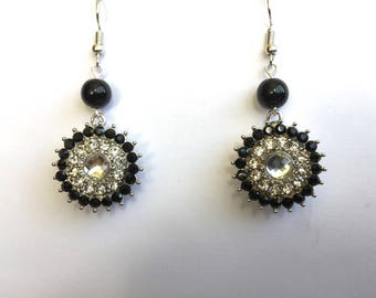 Interchangeable earrings round beads black and Crystal Rhinestone Snap buttons and black head 5.5 mm