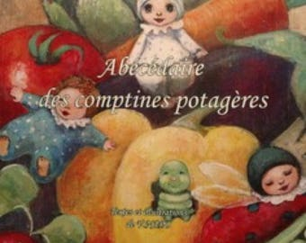 """Children's book. Alphabet on vegetables."""" ABC vegetable rhymes"""". Playful learning l.alphabet and nature."""
