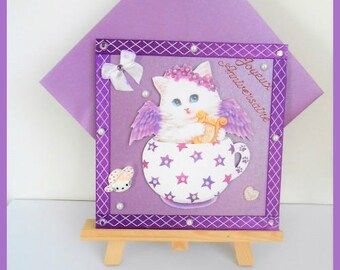 birthday purple, white cat in his Teacup card