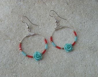 Earrings creole beige turquoise flower