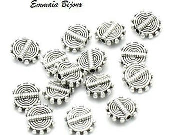 10 metal spiral beads silver 10 x 8 mm
