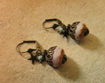 Glass beads and bronze earrings