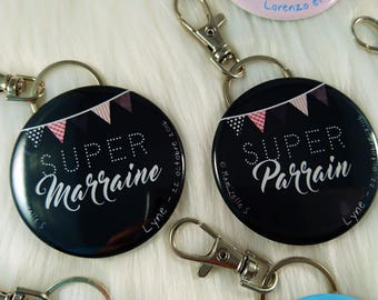 Item customized for baptism (badge, magnet, mirror, Keychain)
