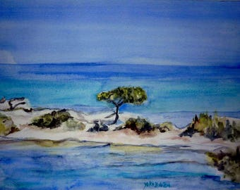 watercolor of an island somewhere in Greece