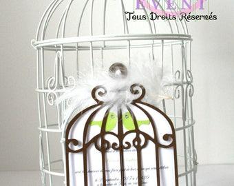 The birdcage wedding invitation birds