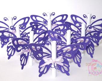 Baptism birth sparkly Butterfly wedding invitation