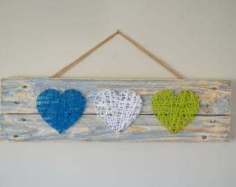String art 3 hearts on pallet wood recycled