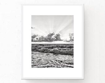Sea Print - Black And White Art, Modern Minimalist, Printable Wall Art, Digital Download, Beach Photography, Coastal Poster, Sea Water Print