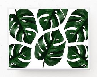 Monstera Print - Tropical Print, Monstera Leaf, Digital Download, MONSTERA PRINTABLE, Tropical Decor, Monstera Leaf Poster, Succulent Print
