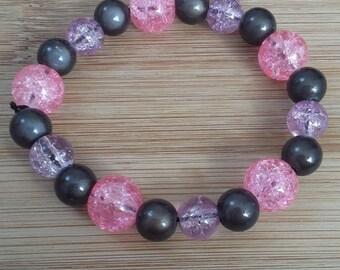 Bracelet glass, resin Black/Pink/Purple