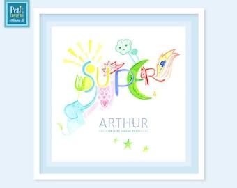 SUPER! -Custom framed - Christmas - Decor nursery kids baby