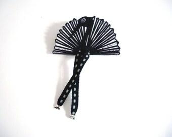 Fancy Black Swan printed leather brooch