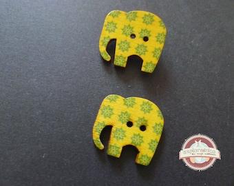 2 elephants green yellow 29mm wooden buttons