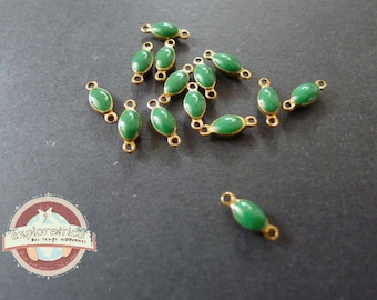 10 drops connectors Charms charms bronze brass and enamel green 4x10mm