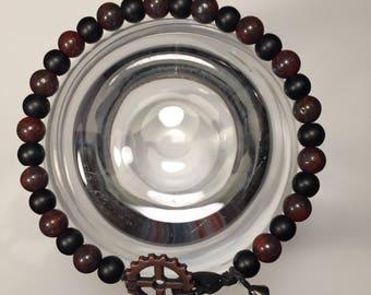 """Men/women bracelet with gear closure mount on a waxed linen cord 8"""""""