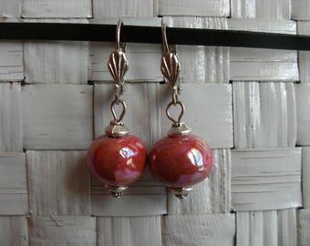 Ceramic bead are handmade, red cherry glossy stud earrings.