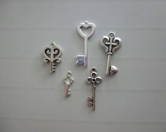 Set of 5 Silver key charm