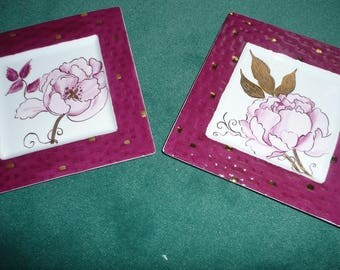 4 purple and shiny gold square dishes: pattern of peonies. Hand painted porcelain
