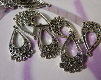 4 chandelier drop filigree silver-plated 25x13mm