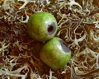 "Green Pearl - glazed earthenware - ""raku"