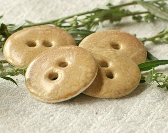 Ceramic button - set of 4 round buttons in porcelain enamelled beige and ocher