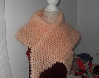 salmon crochet wool scarf