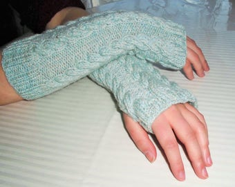 Tweed green fingerless mittens
