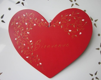 Large handpainted wooden welcome heart