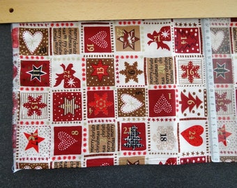 Fabric for the advent calendar with 24 numbers in small squares