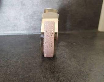 Pink Swarovski and silver brass bracelet