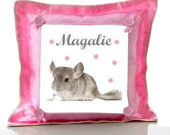 Cushion Pink Chinchilla personalized with name
