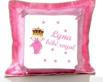 Cushion Pink royal baby personalized with name