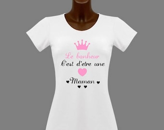 T-shirt women white happiness is being a MOM