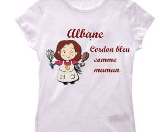 T-shirt girl blue cord as a MOM personalized with name